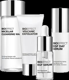Bioeffect On-The-Go Essentials Set = EGF Serum 5 ml + EGF Day Srum 5 ml + Volcanic Exfoliator 10 ml + Micellar Cleansing Water 30 ml
