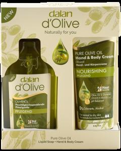 Dalan d'Olive Body Care Set = Bodylotion 75ml + Flüssigseife 300ml + Duschgel 400ml
